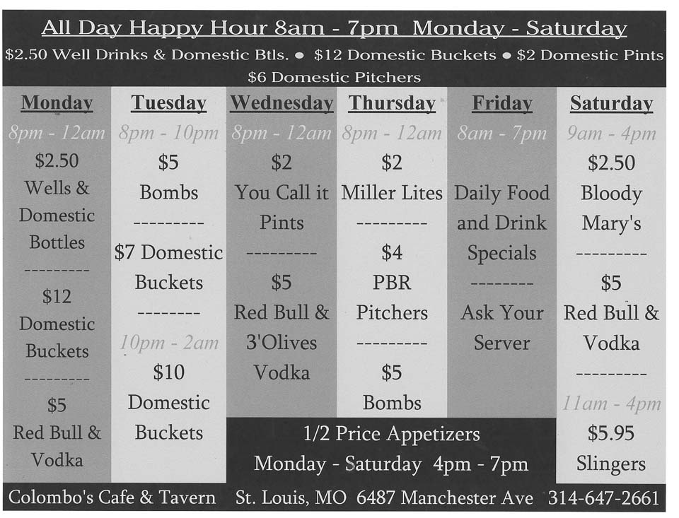 Colombo's Drink Specials - Located in St. Louis